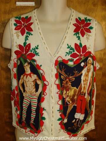 Red Poinsettias and Green Ivy Hottie Guy Ugly Christmas Sweater Vest
