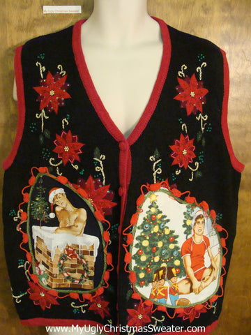 Two Sided Poinsettias Hottie Guy Ugly Christmas Sweater Vest