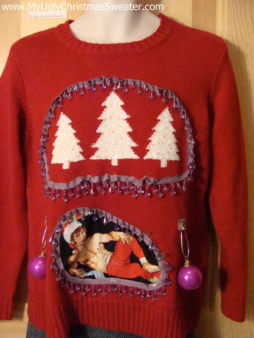 Hottie Guy Tacky Ugly Christmas Sweater Bling Fringe & 3D Ornaments (b1)