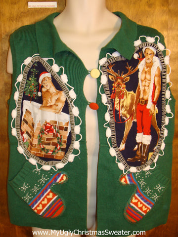 Hottie Guy Green Ugly Christmas Sweater Vest
