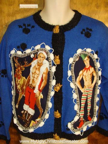 Cat on the Back! Hottie Guy Ugly Christmas Sweater