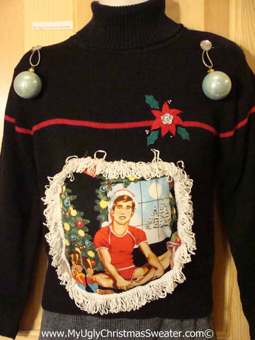 Hottie Guy Tacky Ugly Christmas Sweater Dangling Fringe & 3D Ornaments (b20)