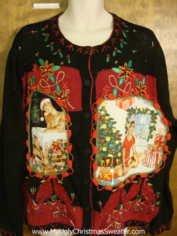 Hottie Guy Ugly Christmas Sweater with Red Cardinal