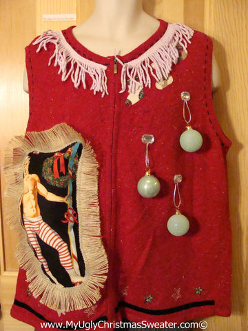 Hottie Guy Tacky Ugly Christmas Sweater Vest Dangling Fringe & 3D Ornaments (b21)