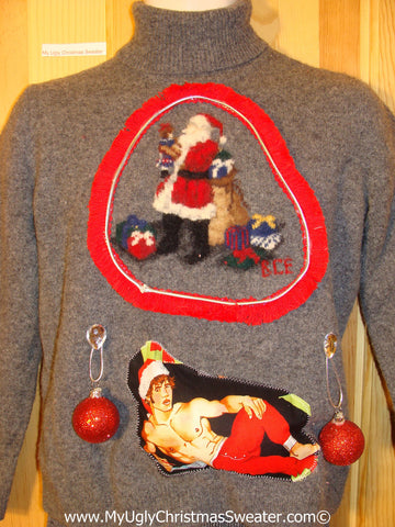 Hottie Guy Tacky Ugly Christmas Sweater Dangling Fringe & 3D Ornaments (b22)