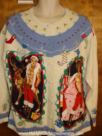 Hottie Guy Ugly Christmas Sweater with Pointy Stockings