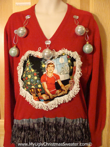 Hottie Guy Tacky Ugly Christmas Mens Sweater Dangling Fringe & 3D Ornaments (b23)