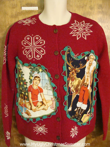 Hottie Guy Ugly Christmas Sweater with Snowflakes