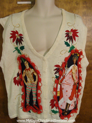 Hottie Guy Ugly Christmas Sweater Vest with Poinsettias