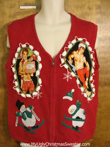 Hottie Guy and Skiing Snowmen Ugly Christmas Sweater Vest