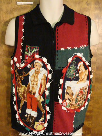 Hottie Guy Ugly Christmas Sweater Vest