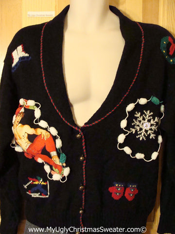 Hottie Guy Tacky Ugly Christmas Sweater Cardigan (b25)