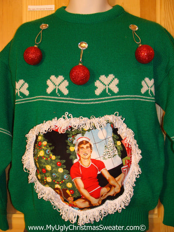 Hottie Guy Tacky Ugly Christmas Sweater Dangling Fringe & 3D Ornaments. Irish Shamrocks. (b26)
