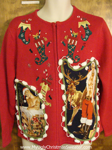Hottie Guy Ugly Christmas Sweater with Funny Stockings