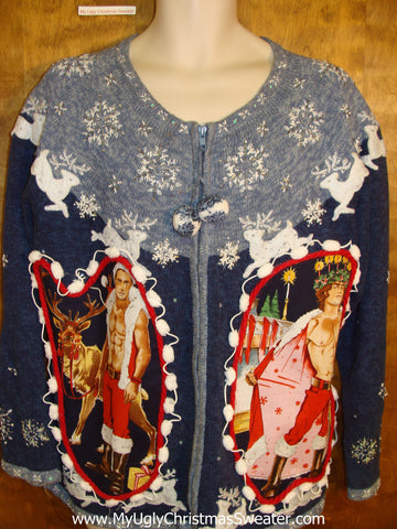 Hottie Guy Ugly Christmas Sweater with Reindeer