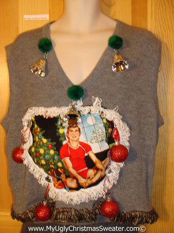 Hottie Guy Tacky Ugly Mens Christmas Sweater Vest Dangling Fringe & 3D Ornaments (b27)
