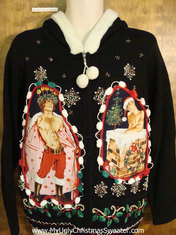 Hottie Guy Ugly Christmas Sweater HOODIE