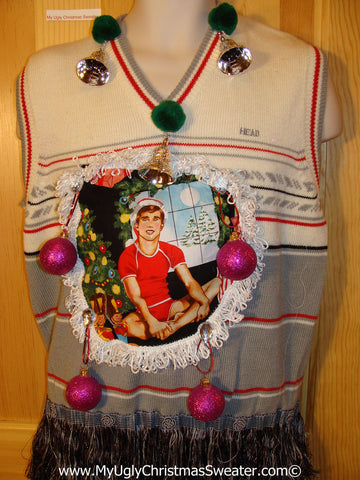 Hottie Guy Tacky Ugly Mens Christmas Sweater Vest Dangling Fringe & 3D Ornaments (b28)