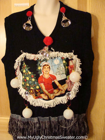 Hottie Guy Tacky Ugly Christmas Mens Sweater Vest Dangling Fringe & 3D Ornaments (b29)