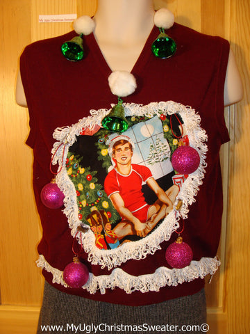 Hottie Guy Tacky Ugly Christmas Mens Sweater Vest Dangling Fringe & 3D Ornaments (b31)