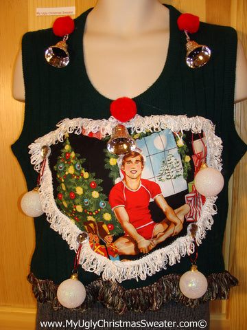 Hottie Guy Tacky Ugly Christmas Mens Sweater Vest Dangling Fringe & 3D Ornaments (b32)