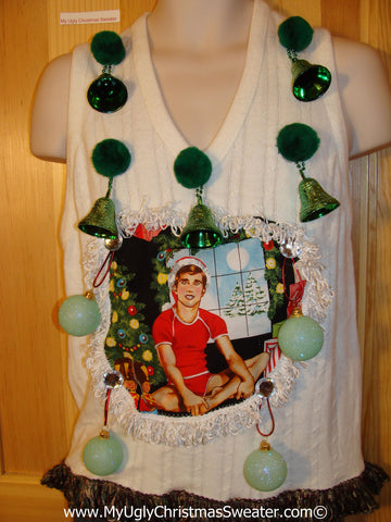 Hottie Guy Tacky Ugly Christmas Mens Sweater Vest Dangling Fringe & 3D Ornaments (b34)