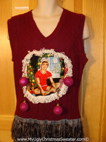 Hottie Guy Tacky Ugly Christmas Mens Sweater Vest Dangling Fringe & 3D Ornaments (b35)