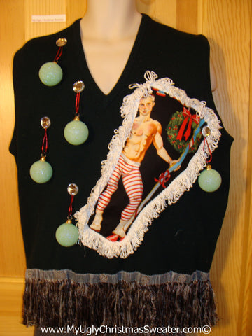 Hottie Guy Tacky Ugly Christmas Mens Sweater Vest Dangling Fringe & 3D Ornaments (b41)