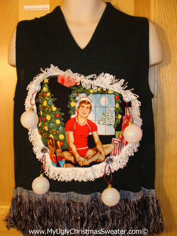 Hottie Guy Tacky Ugly Christmas Mens Sweater Vest Dangling Fringe & 3D Ornaments (b42)