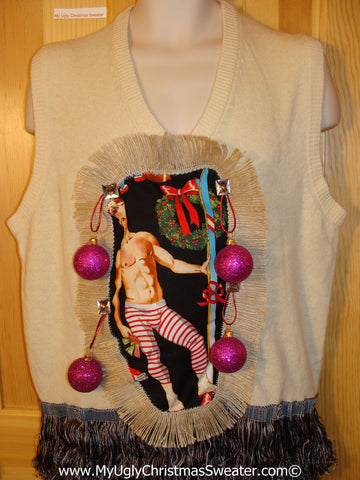 Hottie Guy Tacky Ugly Christmas Mens Sweater Vest Dangling Fringe & 3D Ornaments (b43)