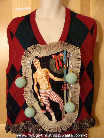 Hottie Guy Tacky Ugly Christmas Mens Sweater Vest Dangling Fringe & 3D Ornaments (b46)