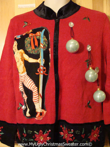 Hottie Guy Tacky Ugly Christmas Sweater 3D Ornaments (b49)