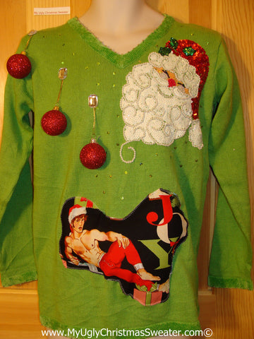 Hottie Guy Tacky Ugly Christmas Sweater Bling Santa 3D Ornaments (b52)