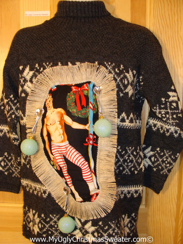 Hottie Guy Tacky Ugly Christmas Sweater Dangling Fringe & 3D Ornaments (b54)