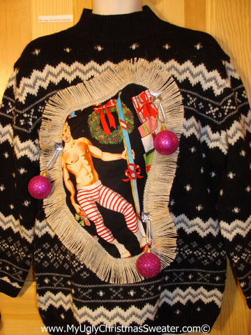 Hottie Guy Tacky Ugly Christmas Sweater Dangling Fringe & 3D Ornaments (b55)