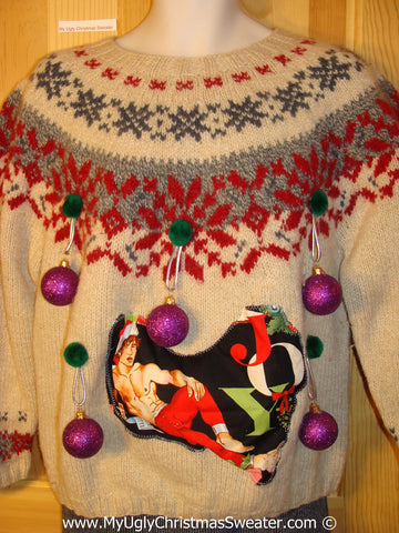 Hottie Guy Tacky Ugly Christmas Sweater 3D Ornaments (b58)
