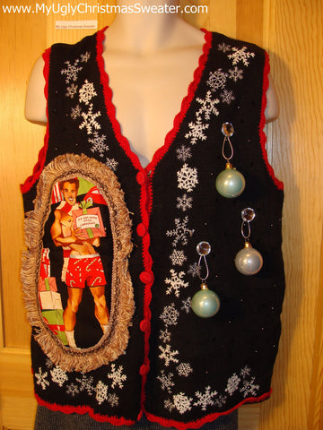 Hottie Guy Tacky Ugly Christmas Sweater Vest Dangling Fringe & 3D Ornaments (b5)