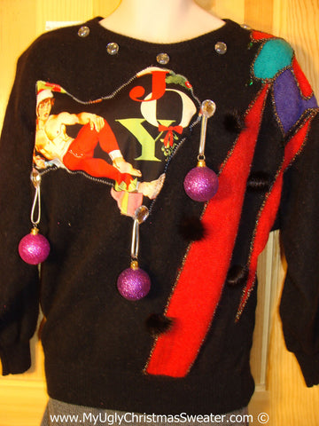 Hottie Guy Tacky Ugly Christmas Sweater 80s Padded Shoulders 3D Ornaments (b60)