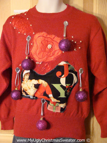 Hottie Guy Tacky Ugly Christmas Sweater Padded Shoulders and 3D Ornaments (b63)