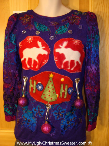 80s Glam Tacky Ugly Christmas Sweater Reindeer and HoHoHo. 3D Ornaments  (b64)