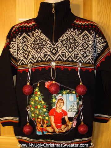 Hottie Guy Tacky Ugly Christmas Sweater  3D Ornaments (b65)