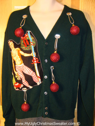 Hottie Guy Tacky Ugly Christmas Sweater Mens Cardigan 3D Ornaments (b66)