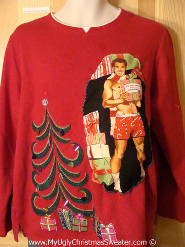 Hottie Guy Tacky Ugly Christmas Sweater Bling Tree  (b68)