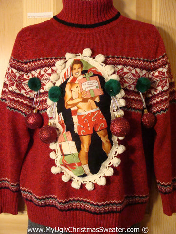 Hottie Guy Tacky Ugly Christmas Sweater Pom Pom Trimms & 3D Ornaments (b69)