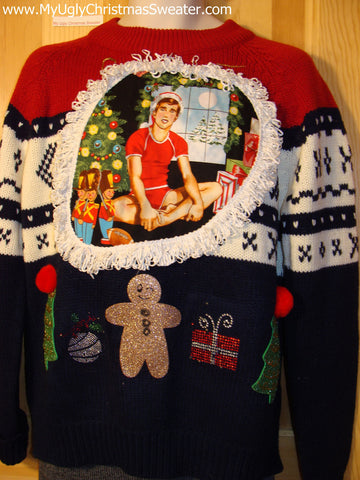 Hottie Guy Tacky Ugly Christmas Mens Sweater Dangling Fringe, & Crafty Decorations (b6)