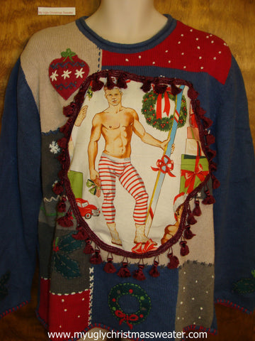 Hottie Guy Blue Patchwork Ugly Christmas Sweater
