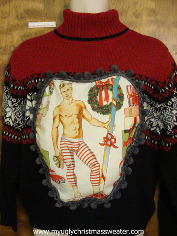 Hottie Guy Ugly Christmas Sweater 2sided Geometric Mess