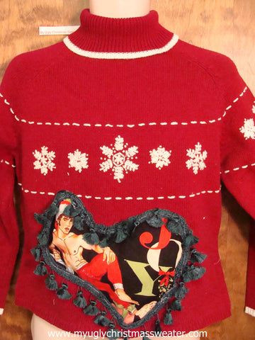 Hottie Guy Ugly Christmas Sweater JOY Snowflakes
