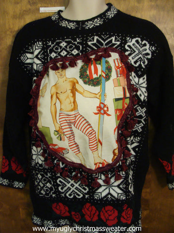 Hottie Muscle Guy Ugly Christmas Sweater Snowflake Pullover