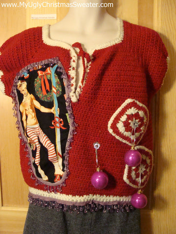 Hottie Guy Tacky Ugly Christmas Sweater Dangling Fringe & 3D Ornaments (b7)